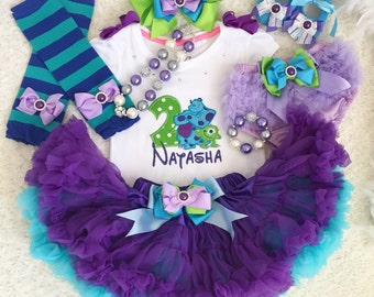 3 pieces-Monster inc Inspired Birthday outfit- includes Personalised Top with sully mike designs ,super fluffy Skirt and Hair accessory