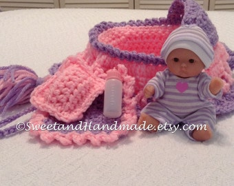 crochet cradle purse in purple and pink doll blanket pillow and baby bottle also called church purse girls purse with doll  R