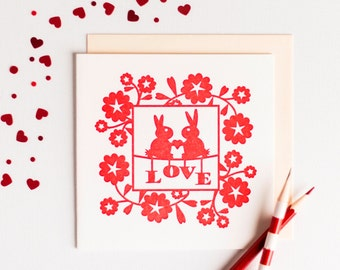 Anniversary Card – Love Bunnies – Wedding Anniversary – Luxury Card – Luxury Stationery – Card For Husband – Anniversary Card – Red Card