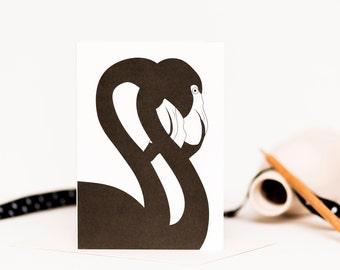 Black Flamingos Card - Anniversary Card - Greetings Card - Wedding Card - Card for Goths - Bird Card - Card for Boyfriend - Card for Partner