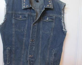 denim cut off vest size 18 upcycled womens denim vest with studs biker, hippie, trucker jacket