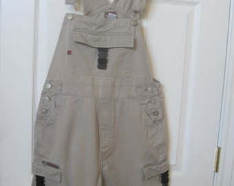 "VTG Bum Equipment carpenter bib overalls shorts/shortalls size SMALL khaki bib overall shorts size 30"" waist womens shorts"