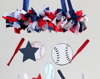 Baseball Sports Nursery Mobile, Boy's Nursery, Boy's Room Decor, Boy Mobile, Nursery Decor, Baby Shower Gift, Photographer Prop