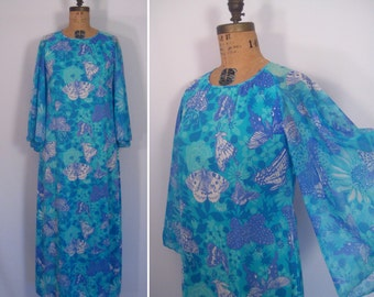 1970s butterfly print maxi dress • 70s angel sleeve tropical floral print caftan • vintage serenade in blue gown