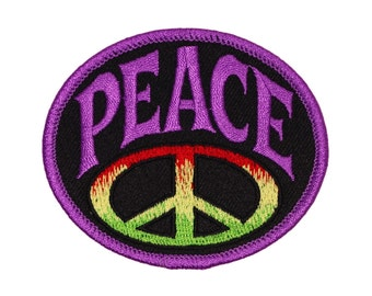 "Purple ""Peace"" Sign Patch Colorful Hippie Love Unity Symbol Iron-On Applique"