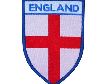 """Saint George's Cross """"England"""" Patch English Country Flag Shield Sew-On Applique"""