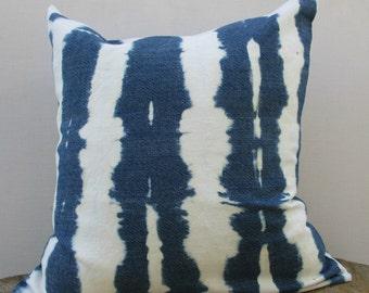 Navy Blue/ Indigo Throw Pillow cover, Cotton, Denim Shibori Pillow, Hand Tie dye, Shibori, home decor
