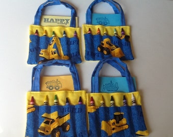 Construction  Children's Crayon Bag, Birthday Party Favor