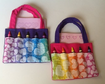 Hearts Children's Crayon Bag, Birthday Party Favor