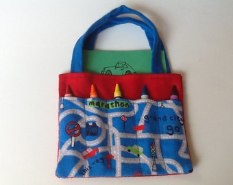 Transportation Children's Crayon Bag, Birthday Party Favor