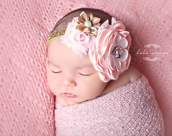 baby headband, Pink Newborn Headband, baby girl headband, Toddler Headband - Pink and Gold Headband