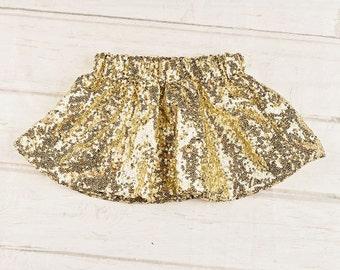 Gold Glitter Skirt..Tutu Birthday Outfit.
