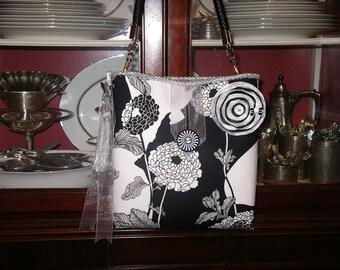 Alexander Henry Black and White Peonies Handbag