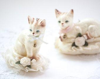 Vintage Cat Figurines on Pillows