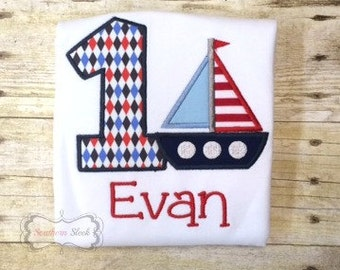 Nautical Themed Embroidered Birthday Shirt or Bodysuit in Navy Blue, Light Blue & Red