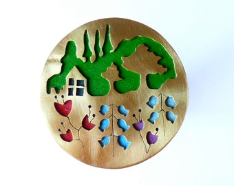 The Little House with Garden Brooch