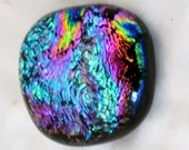 Fused Dichroic Cabochon, Square Cabochon in Rainbow Colors for Mosaic or Jewelry Supplies