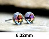 Volcano Studs, Rhinestone Earrings, Volcano Crystal Stud, Small Crystal Studs, Color Changing Studs, Stud Earring, Vinatge Swarovski, 6.32mm