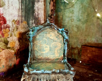 Blue and lace whimsical handmade fairy chair