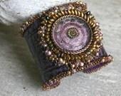 Leather cuff - Leather cuff bracelet - Purple cuff - Purple leather bracelet - Beaded jewelry - Beaded bracelet - Bead embroidery