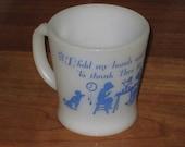 Vintage Fire King Child's Prayer Mug Blue Graphics Kiddie Mug