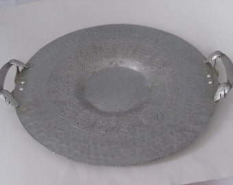 Vintage Hand Wrought Hammered Aluminum Round Serving Tray with Leaves and Acorns