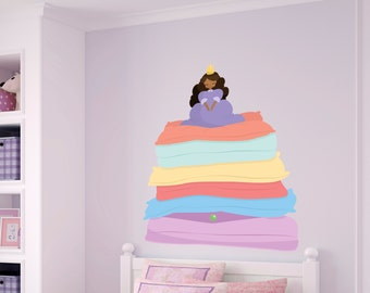 Princess Pea Printed Wall Decal- Removable Wall Decal, Kids Wall Decor, Printed Wall Decal, Princess and the Pea, Girls Nursery Decal