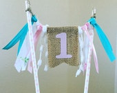 1st Birthday Cake Topper with Streamers // Shabby Chic // Burlap Banner