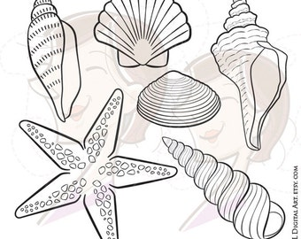 Digital Seashell Stamps Decor Starfish Summer Beach Vector Clip Art Pictures DIY Birthday Party Baby Shower Invitations Scrapbooking 10216