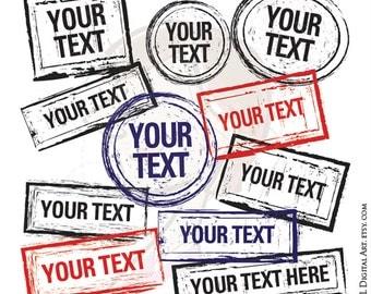 Digital Rubber Stamp Frames Border Clip Art Grunge Design Clipart Scrapbooking Embellishment Label Tags Sign Digistamp Black Blue Red 10310