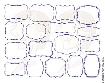 NAVY BLUE Frames Commercial Use Digital Vector Clipart DIY Invitations Wedding Scrapbook Craft Calligraphy Border Transparent Middle 10015