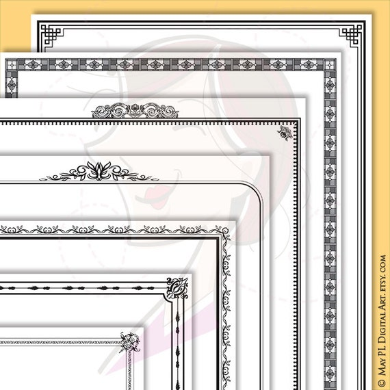 Page Border VECTOR Frames Digital Black Rectangle Frames Clipart 8.5 x 11 Decorative DIY Certificate, Award, Document, Diploma 10194