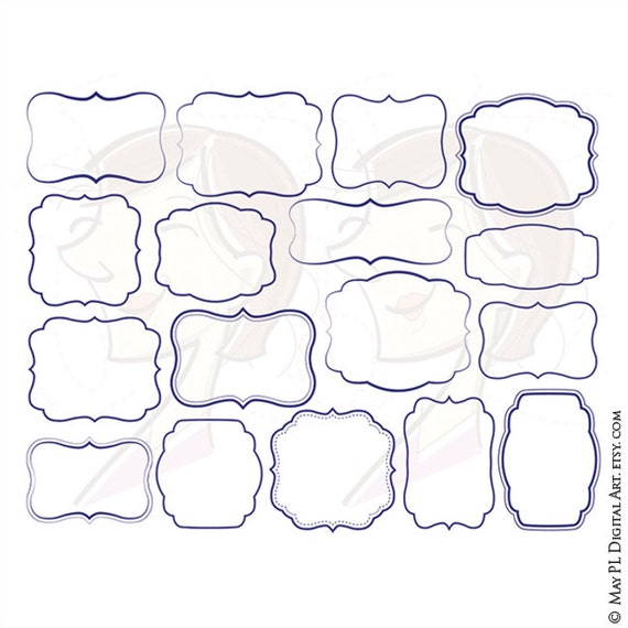 Blue Frames Navy Borders Vector Clip Art