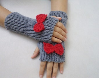 Cute bow gloves, knit fingerless gloves, grey glove, winter gloves