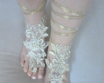 Gold Shoes, Wedding Sandals, Barefoot Sandales, Foot Jewelry, Beach Wedding, Bridesmaid gift, Handmade Gifts