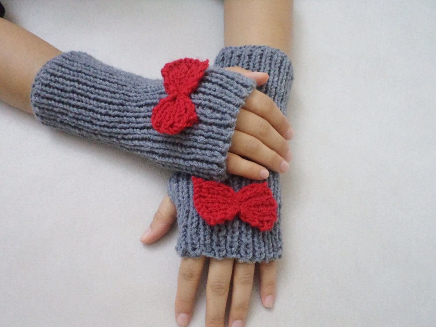 cute bow gloves knit fingerless gloves grey glove winter