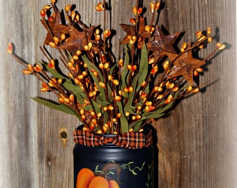 Primitive  Fall Decor Handpainted Jar