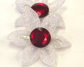 Flower Barrettes, Hair Clips, Hair Accessory, Crystal Accessory, Holiday Hair, Hair Care