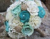 Handmade Wedding Bouquet, Sola wood Bouquet, Burlap Mint Teal Bouquet, Alternative Bouquet, Mint Bouquet, Sola flowers, Wood Bouquet