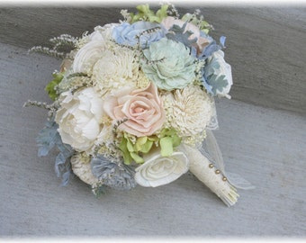 Wedding Bouquet, Sola wood Bouquet, Burlap Mint Bouquet, Alternative bridal Bouquet, Mint Bouquet, Sola flowers, Wood Bouquet