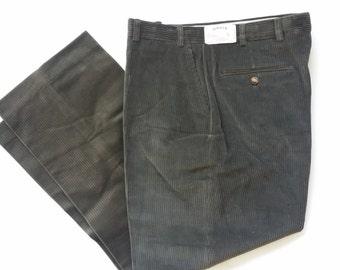 Unworn ORVIS Corduroy Pants • Flat Front Stretch Khaki Green Lumberjack Pants • Men's 34 ~ Made in USA!
