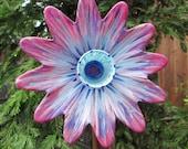 Color Explosion Glass Plate Flower Garden Art Hand Painted - Garden Sculpture - Garden Decor - Fence Art - Wall Art