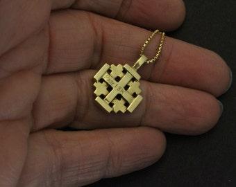 18K yellow gold Jerusalem Cross