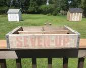 Vintage Original Seven Up Crate - Great Advertising on The Sides - Great For Storage of as Shelving