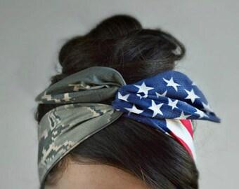 American Air Force flag headband, Tiger stripeCamo Patriotic Dolly bow, American Flag head band,