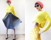 Sunny yellow slouchy knitted long sleeve drop shoulder crop sweater top