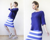 Vintage bright blue knit elbow sleeve slouchy high low oversize sweater top