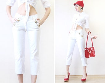 MOSCHINO vintage white cotton denim skinny straight leg mid waist capri pants trousers jeans XS