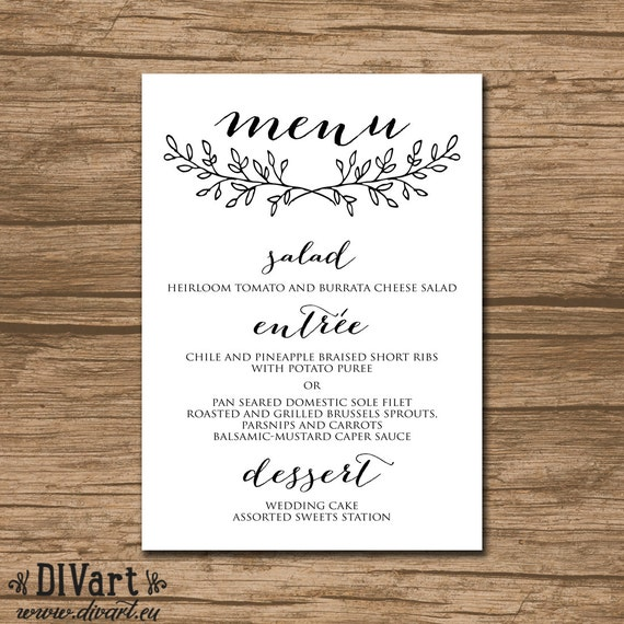 Wedding Menu Rehearsal Dinner Menu Reception Menu: PRINTABLE Wedding Menu Rehearsal Dinner Menu Reception Menu