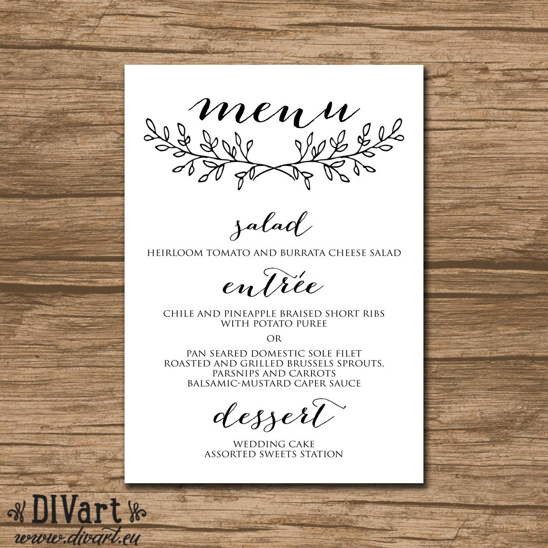 Dinner Ideas For Wedding: PRINTABLE Wedding Menu Rehearsal Dinner Menu Reception Menu